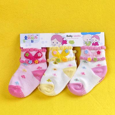 Wholesale socks, children socks cotton socks of flowers giving skid female children socks with flower socks color