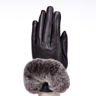 Hundred tiger rabbit hair mouth touch women's leather gloves. Autumn and winter with velvet gloves
