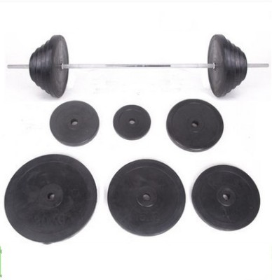 Heavy iron core rubber barbell weights barbell dumbbells foot bag of adhesive weight/size hole barbell ring
