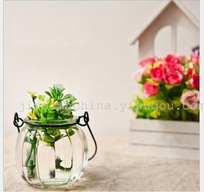 Wedding water glass ornaments style transparent small vases wall lanterns, wrought iron, wrought iron candle holder