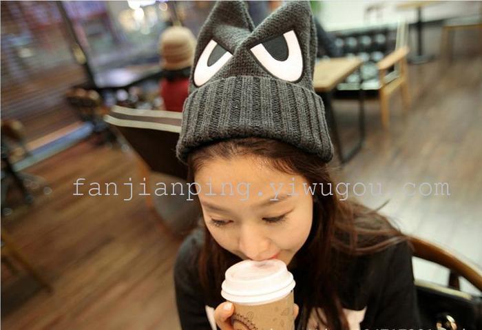 韩版时尚可爱卡通人物大眼珠针织毛线帽子秋冬女可爱