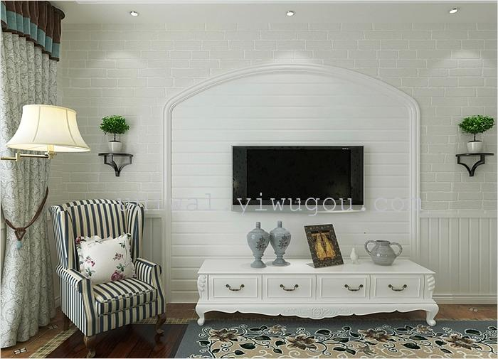 现代欧式 压纹自然环保白色砖纹壁纸 卧室客厅电视墙