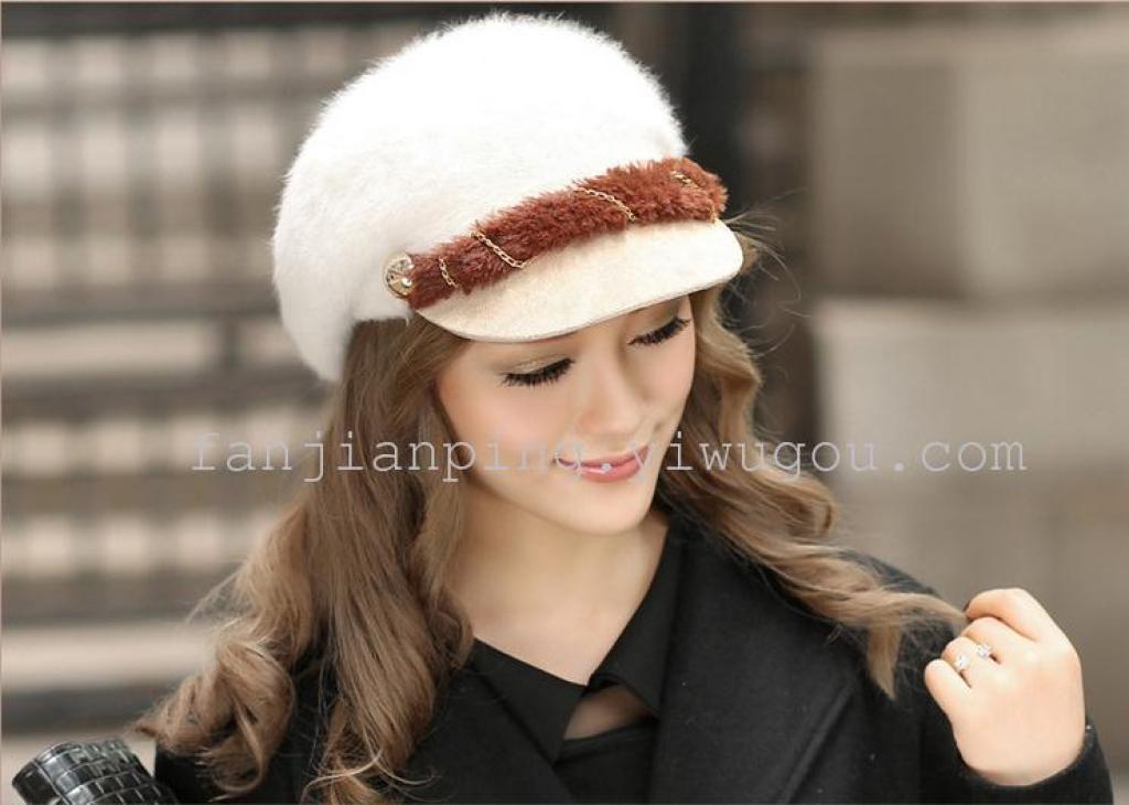 时尚冬季兔毛帽子 女士