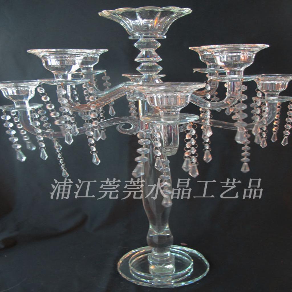 高档欧式简约时尚水晶蜡烛台工艺品
