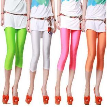 Summer burst Candy-colored fluorescent nylon pants cropped