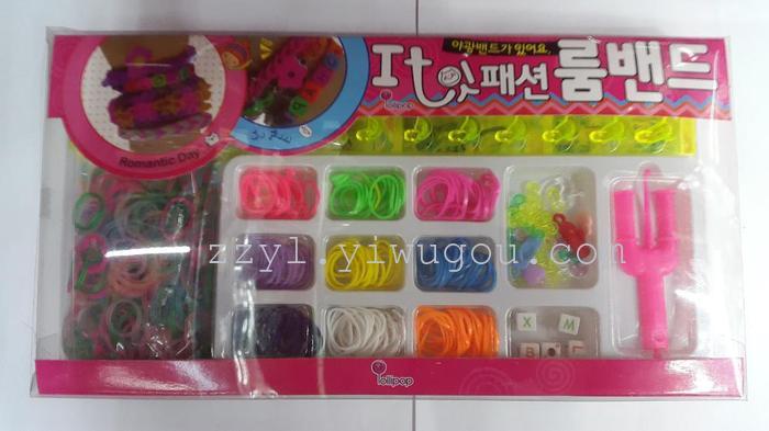 彩虹编织绳 橡皮筋 diy编织手链