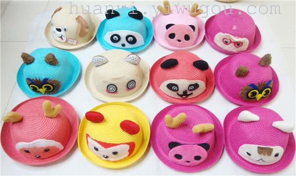 创意卡通动物头像小孩帽,款式多样,欢迎批发订购