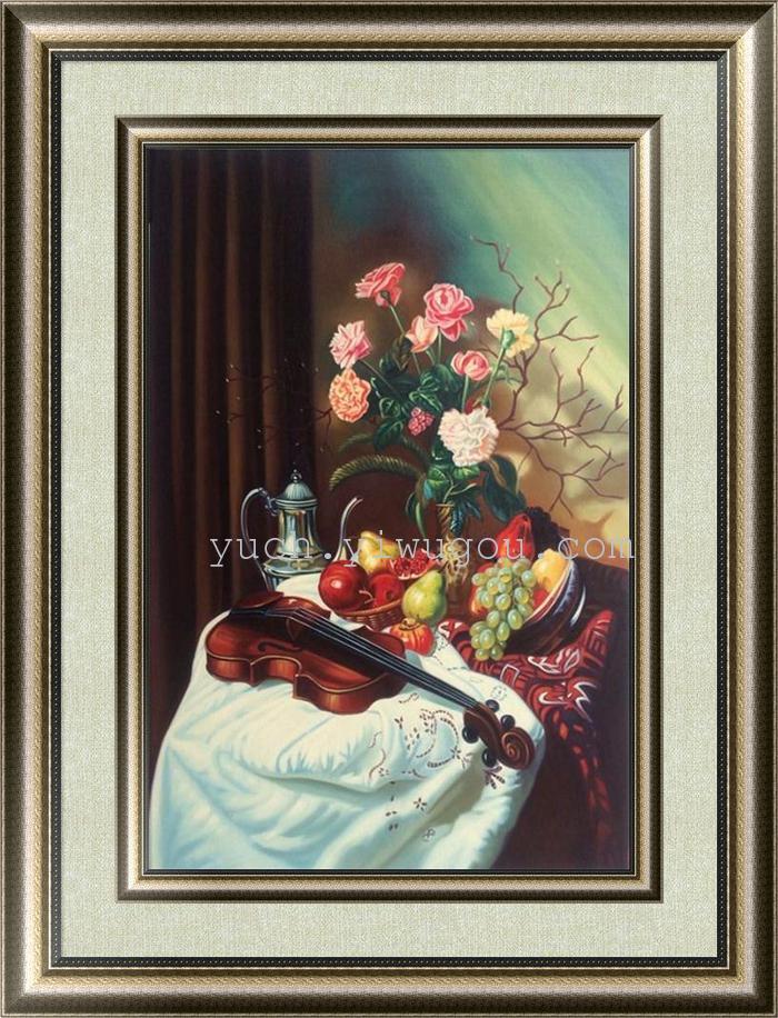 手绘欧式高档水果餐厅装饰画有框现代简约餐厅油画