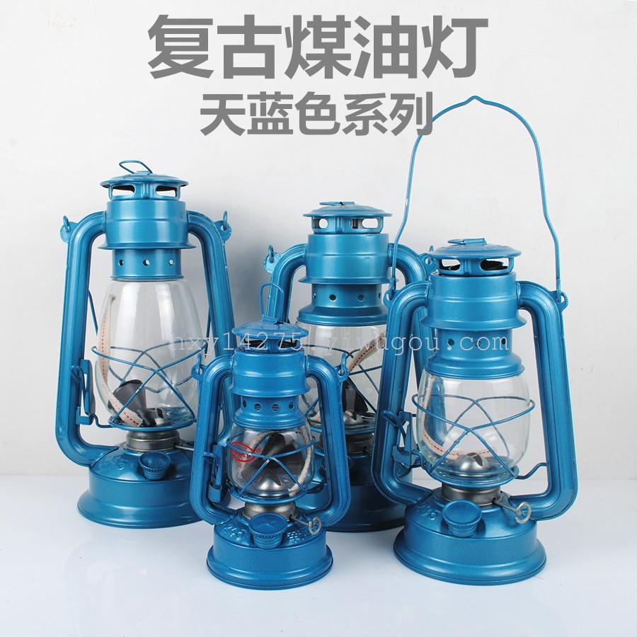 Light Blue Vintage Kerosene Lamp,Camping Lantern,Oil lamp Tent Light,Height 19cm
