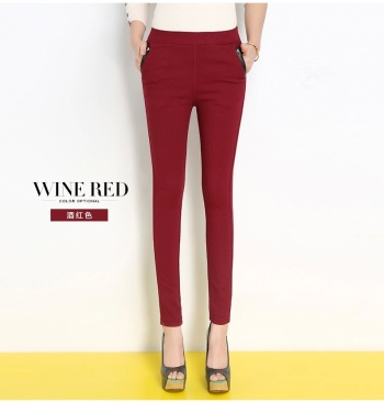 Winter and exterior wear velvet padded stretch pencil pants warm slim slim tight trousers women