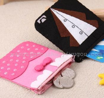 不织布材料包-免裁剪先生小姐情侣钱袋 diy手工布艺