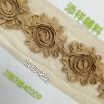 Garment accessories three in one machine embroidery lace Chiffon edge jewelry Rose Headband