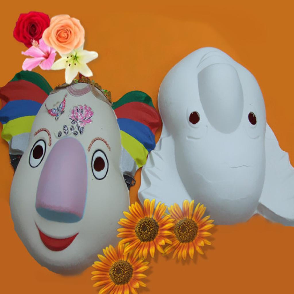 小动物系列 手工绘画 白色纸浆面具