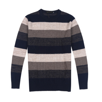 Men's 2014 Winter 100% Sterling twist sweater Cardigan men's striped crewneck sweater