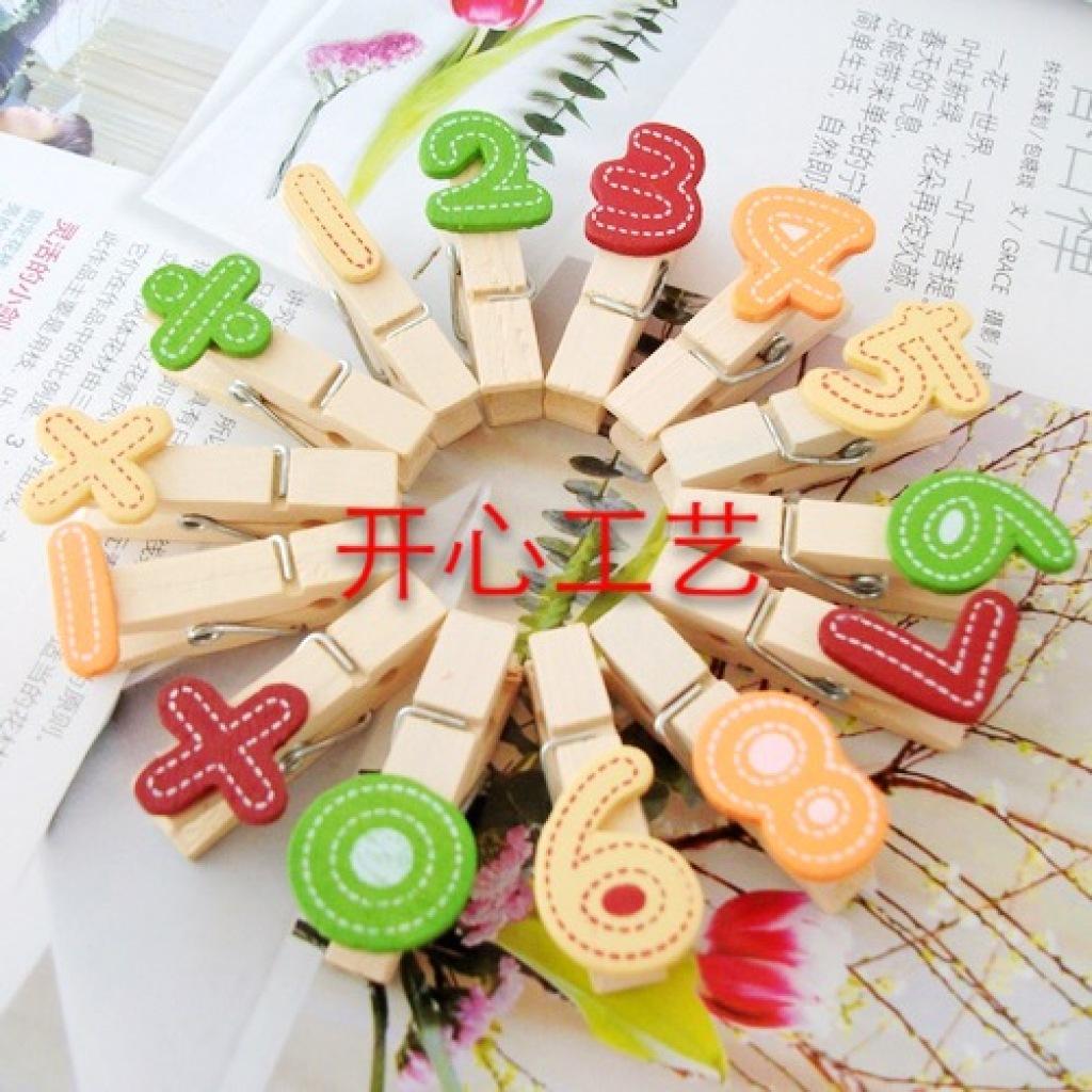 韩国卡通木制小夹子 可爱照片夹子麻绳组合相片夹
