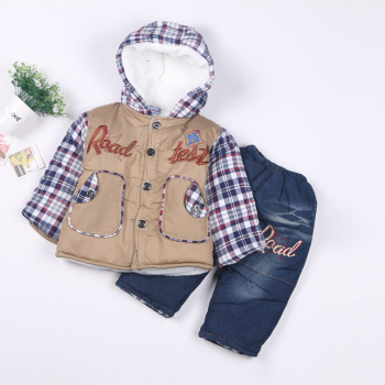 Korean winter baby winter padded jacket suits baby cotton two-piece thickened cartoon children set out clothes