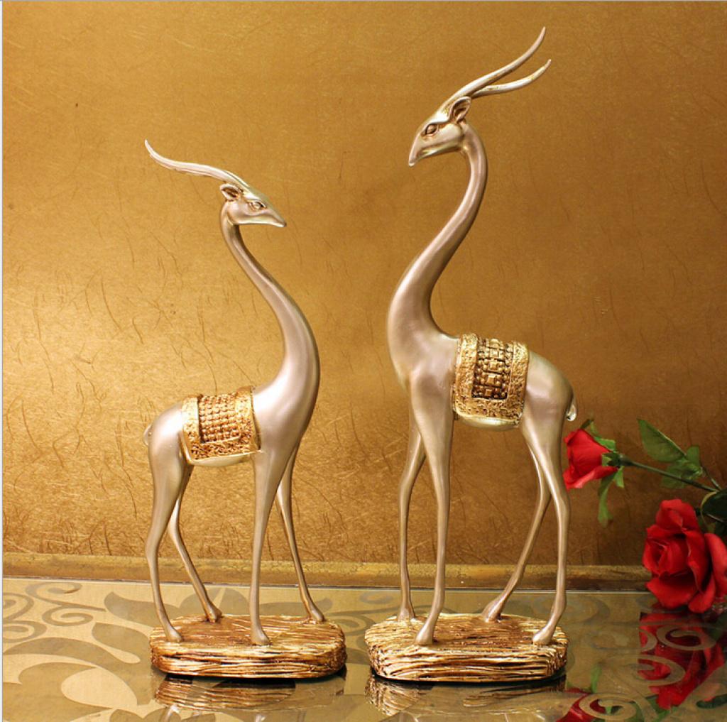 欧式奢华情侣对鹿 树脂工艺品 创意家居装饰品