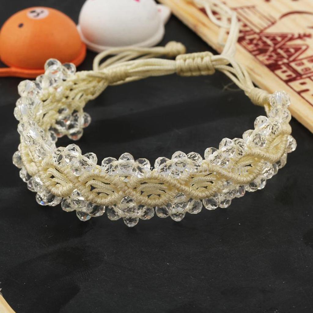 花边珍珠.水晶手工编织手链