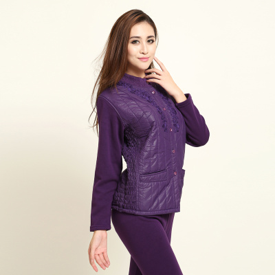 Elderly women's thermal underwear in the snow thickened and wool-cotton Cardigan Sweater down warm clothing kits direct