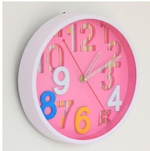 Supply Fashion confectionery color round digital wall clock living ...