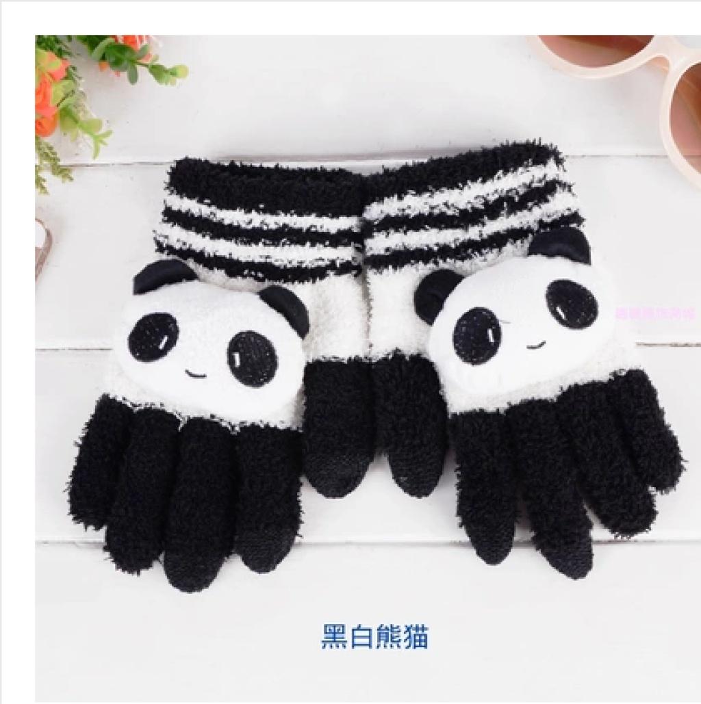可爱卡通秋冬季女士全指触屏手套加厚保暖韩版加绒触摸屏手袜包邮