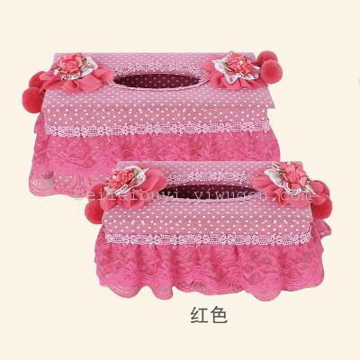 Leisure housing manufacturers selling fabric lace tissue box pastoral Book box, home decoration home sewing gifts