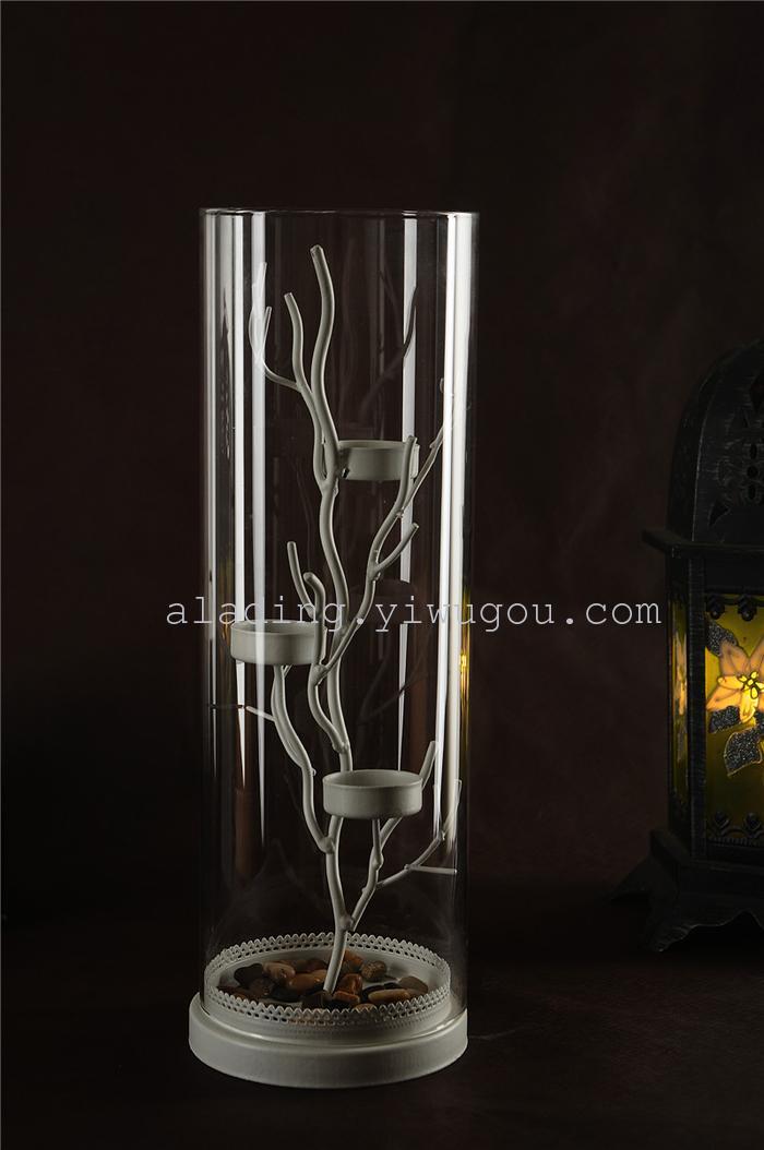欧式风格铁艺烛台玻璃灯罩树枝造型家居配饰工艺品