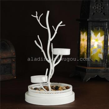 欧式白色枯枝造型铁艺烛台大号玻璃灯罩工艺品