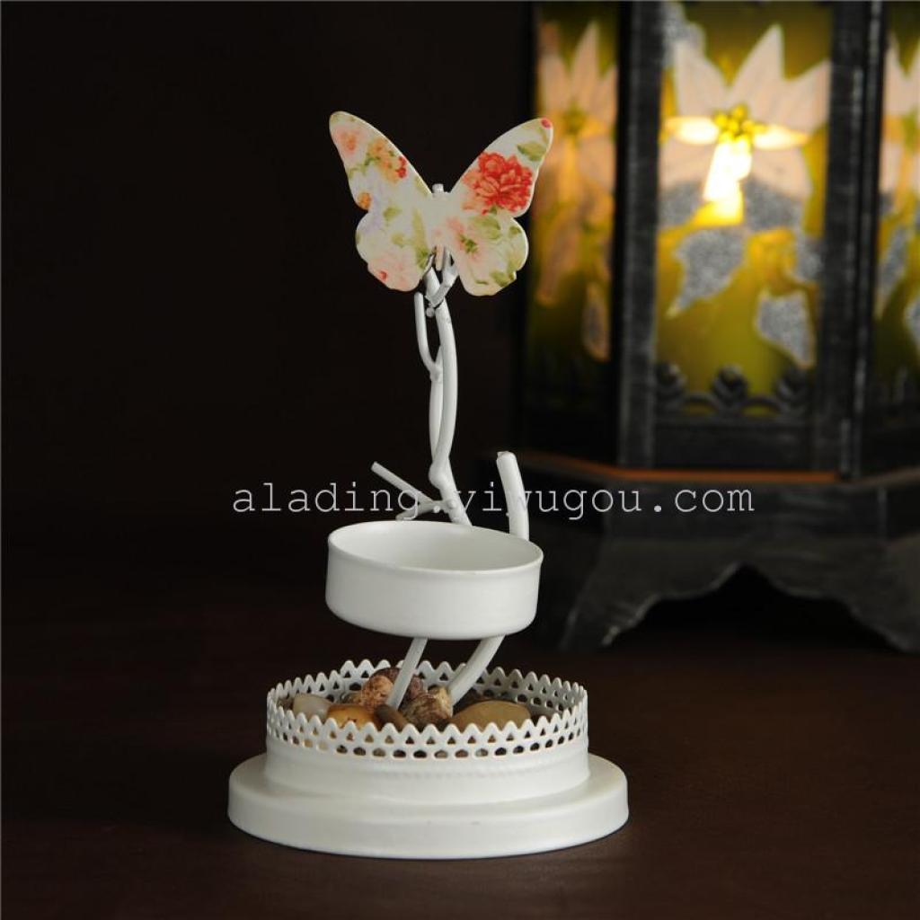 欧式铁艺白色蝴蝶烛台工艺品玻璃灯罩摆件家居摆设