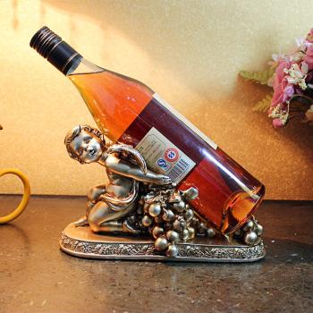 创意树脂工艺品葡萄藤小孩酒架办公室书房装饰品摆件