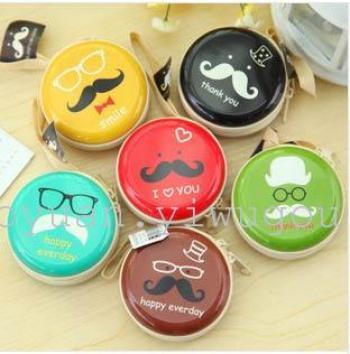 Korea Creative circular monedero hojalata barbudo mano auriculares clave Mini kit