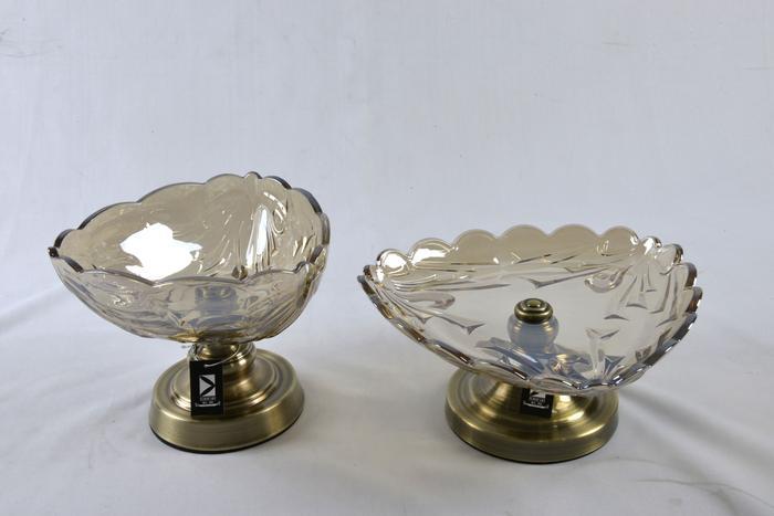 新古典欧式低调奢华摆件软装饰水晶玻璃果盘 摆件