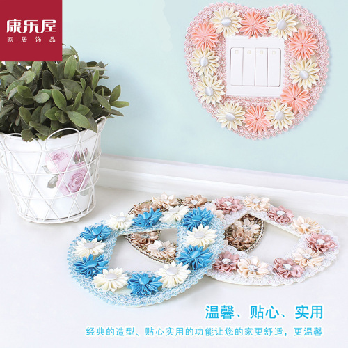 Kangle house 2014 switch sets -3 number of rural creative lace switch decorative fabric switch cover