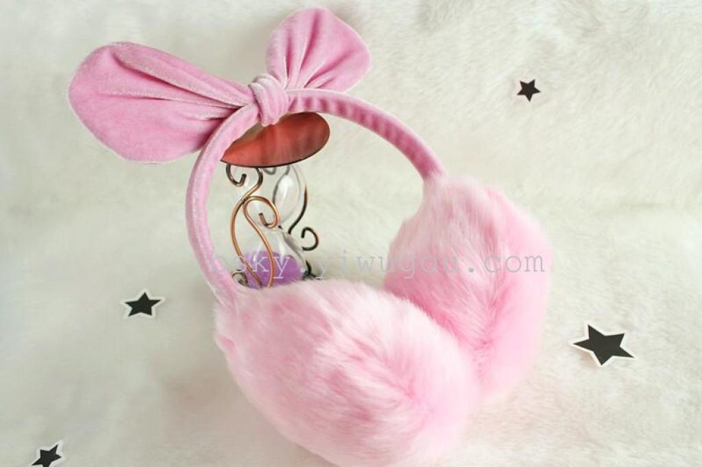 猫耳朵耳罩仿兔毛绒耳暖秋冬季时尚保暖耳套女可爱