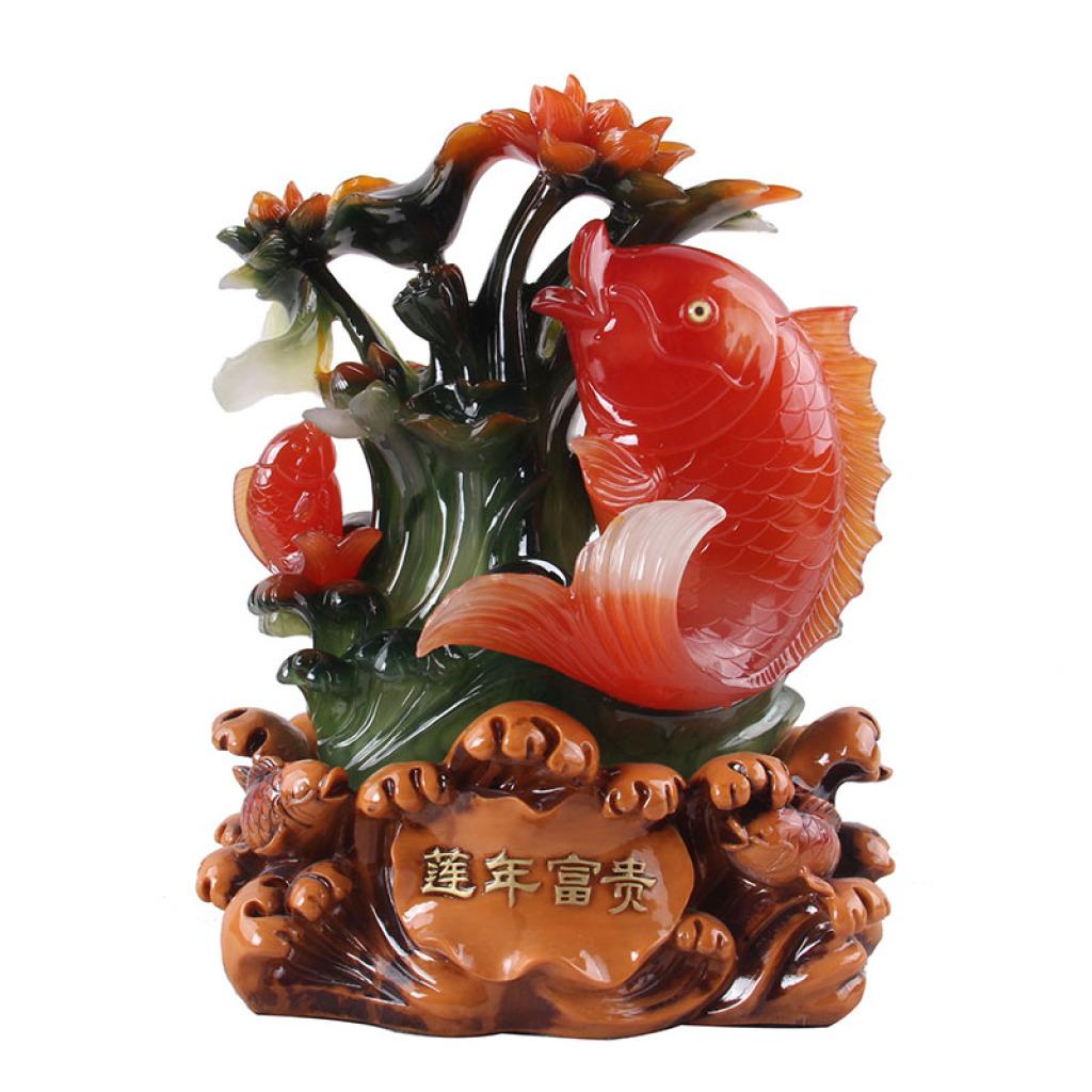 wm507莲年富贵风水招财鱼摆件树脂工艺品批发家居装饰