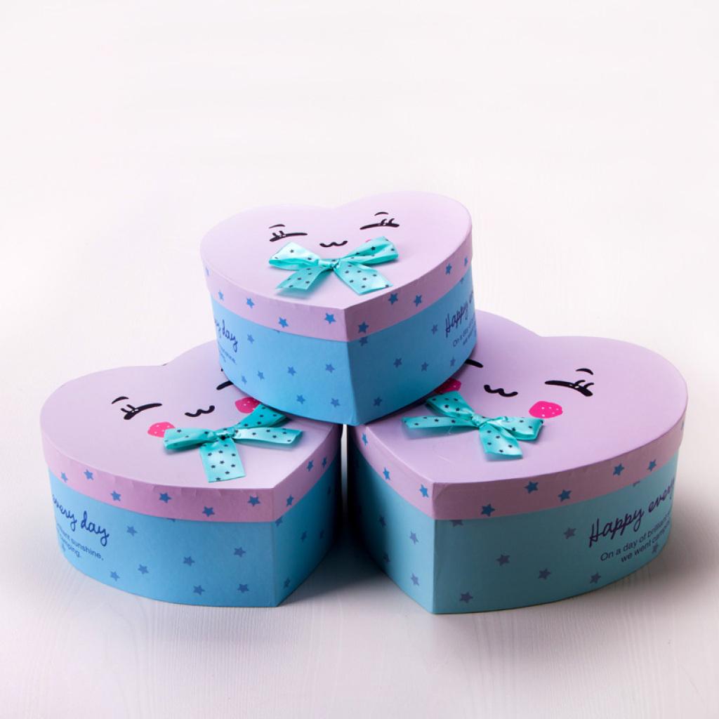 卡通可爱心形礼品盒情人节装送女朋友礼物盒折纸千纸鹤糖果盒