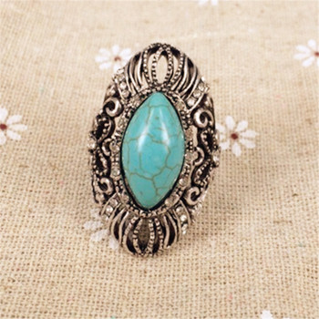 European hollow pattern fan with drilled Turquoise Silver ring ladies not allergic colorfast wholesale alloy jewelry