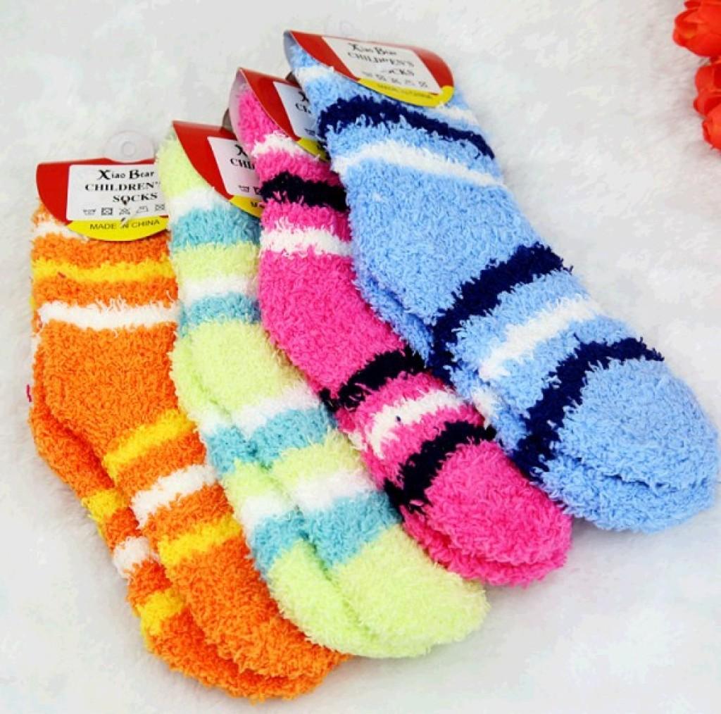 冬季可爱糖果色儿童保暖毛巾袜子(1-3岁