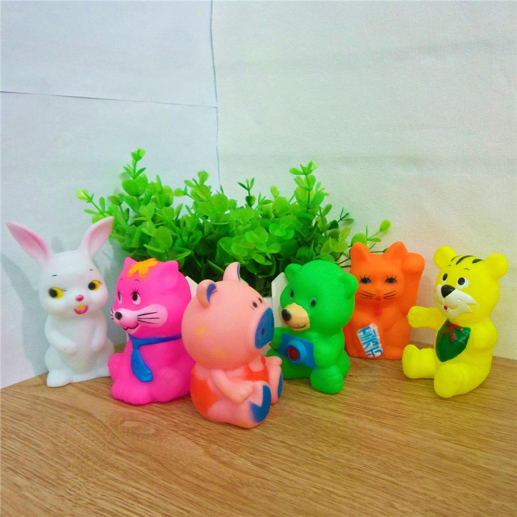 厂家直销搪胶小动物发声婴儿儿童洗澡玩具六只动物