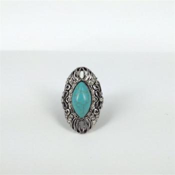 欧美范镂空花纹带钻绿松石银色戒指女款不过敏不掉色合金饰品批发