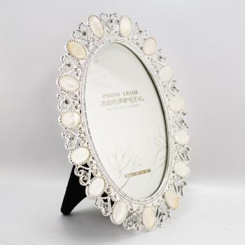 贝壳椭圆相框 6寸合金相框 欧美时尚相框_鸿鑫工艺品