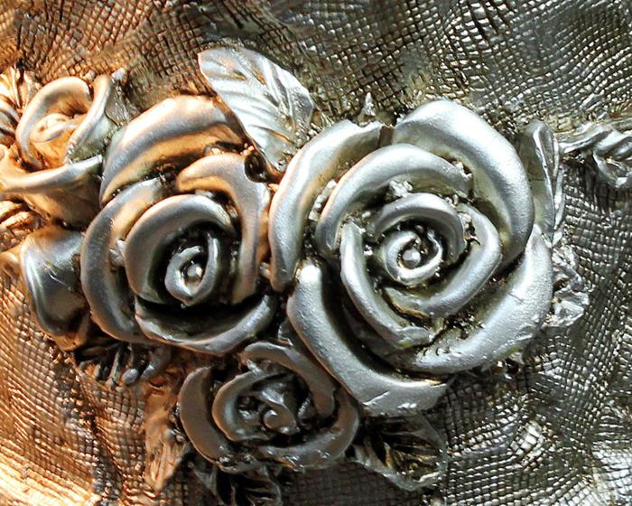 欧式奢华玫瑰雕花圆筒纸巾盒摆件