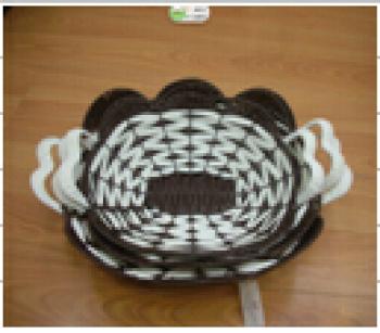 仿藤编塑料圆形篮纯手工编织 货号sf23081