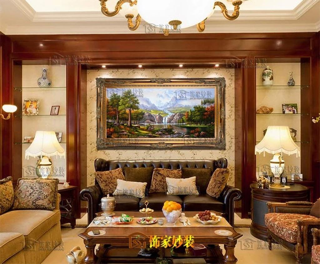 欧式有框手绘油画古典山水风景客厅玄关简约挂画酒店