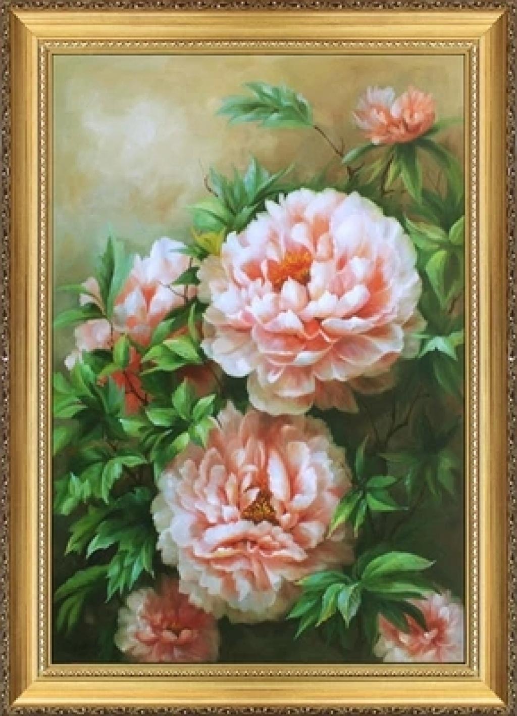 高档牡丹花油画 卧室餐厅装饰画 欧式有框画 花卉油画