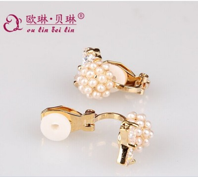 Four-leaf clover new ear clip Pearl bow Stud Earrings natural slim mini factory wholesale