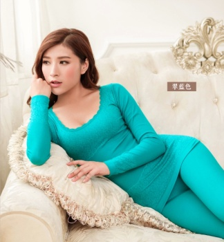 Blue Lady lace collar printing seamless body fitness thin cotton sweaters thermal underwear sets