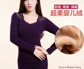 Autumn and winter lady seamless body with velvet thickened long sleeved pants tight thermal underwear sets