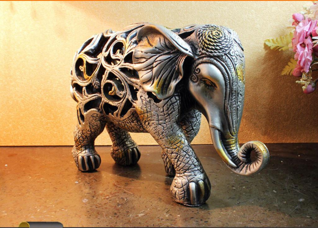 镂空大象摆件动物家居树脂大象装饰品