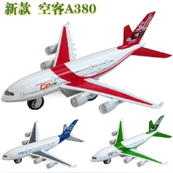 Alloy child airplane model Airbus A380 aircraft plane model acousto-optic pull back toys